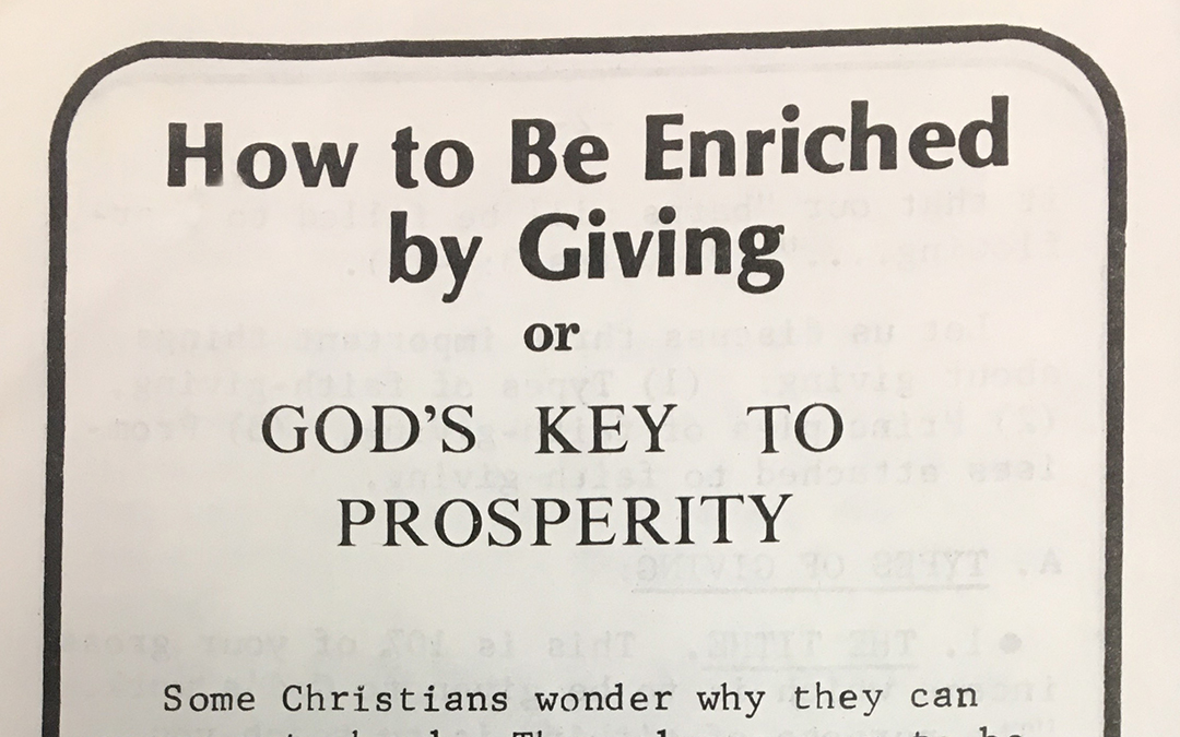 How to Be Enriched by Giving / God's Key to Prosperity